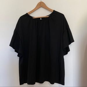 Eloquii Flutter Sleeve Blouse Black